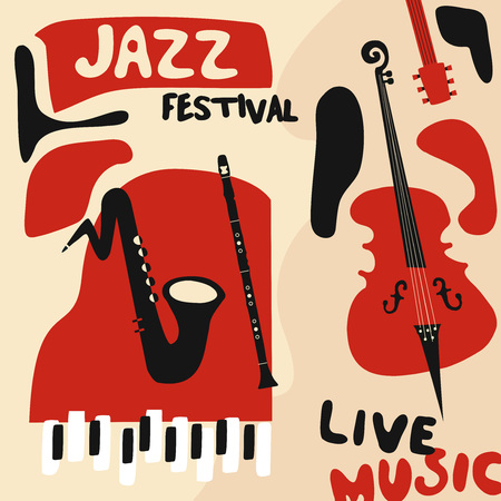 Jazz music festival poster with music instruments. Saxophone, violoncello, piano and clarinet flat vector illustration. Jazz concert