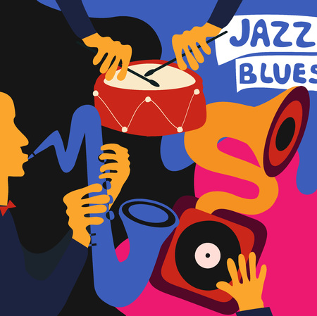 Jazz music festival colorful poster with music instruments. Saxophone and drum player with gramophone flat vector illustration. Jazz concert Illustration