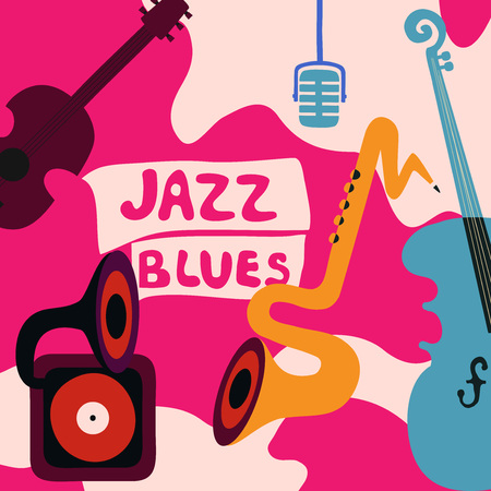 Jazz music festival colorful poster with music instruments. Gramophone, cello, guitar, saxophone and microphone flat vector illustration. Jazz concert Illustration