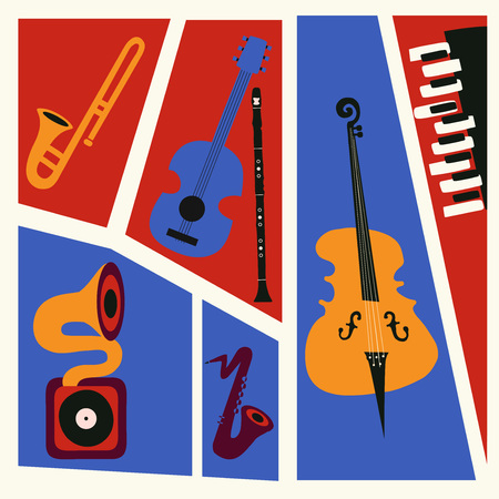 Jazz music festival colorful poster with music instruments. Saxophone, trumpet, guitar, cello , piano, clarinet and gramophone flat vector illustration. Jazz concert