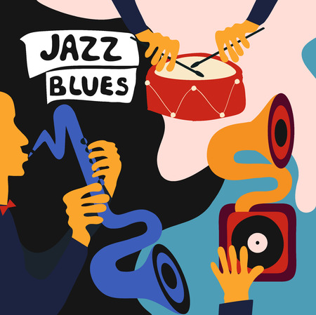 Jazz music festival colorful poster with music instruments. Saxophone and drum player with gramophone flat vector illustration. Jazz concert Illusztráció