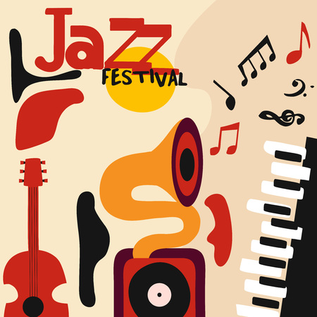 Jazz music festival colorful poster with music instruments. Gramophone, guitar and piano with music notes flat vector illustration. Jazz concert Illustration