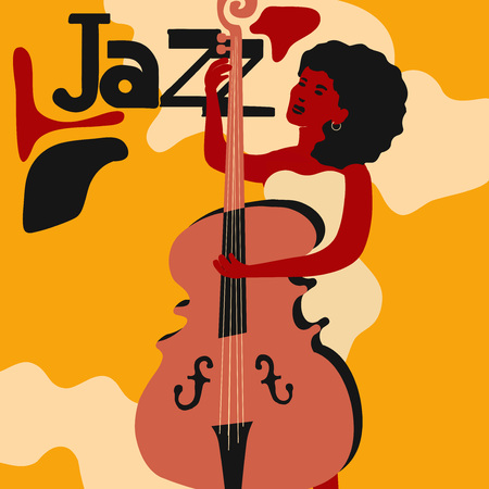 Jazz music festival colorful poster with woman musician playing violoncello. Violoncello player flat vector illustration. Jazz concert