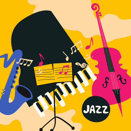 Jazz music festival colorful poster with music instruments. Saxophone, violoncello, piano and music stand flat vector illustration. Jazz concert Standard-Bild - 97948473