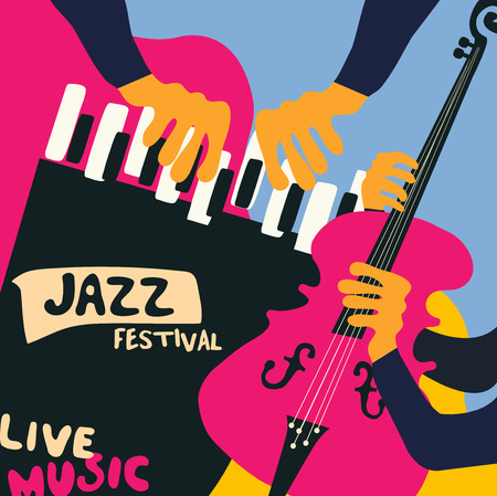 Jazz music festival colorful poster with music instruments. Piano and violoncello player flat vector illustration.
