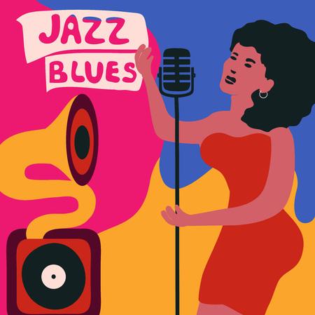 Affiche colorée du festival de musique jazz avec gramophone et chanteuse. Banque d'images - 97953138