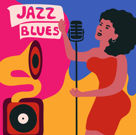 Jazz music festival colorful poster with gramophone and woman singer.