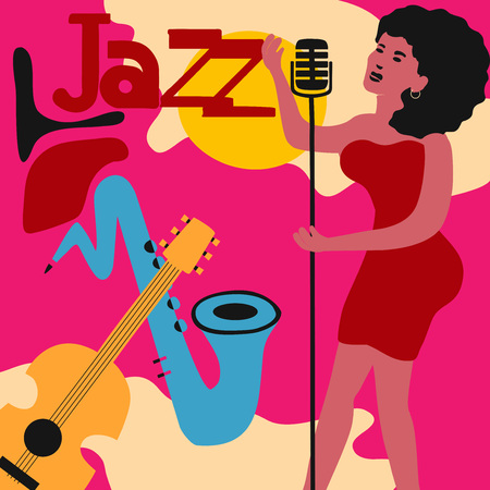 Jazz music festival colorful poster with music instruments and woman singer. Ilustração