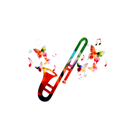 Music colorful background with trumpet. Music festival poster. Trumpet isolated vector illustration. Music instrument vector