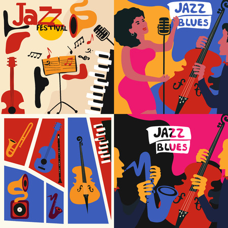 Set of colorful music cards and banners. Music cards with instruments flat vector illustration. Jazz music festival banners. Colorful jazz concert posters Ilustração