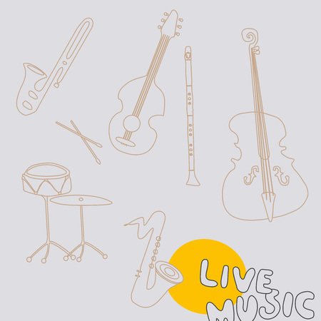 Set of music instruments vector illustration. Music background with violoncello, clarinet, guitar, trumpet, saxophone, drum and cymbal. Music festival poster