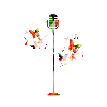 Music colorful background with microphone. Music festival poster. Microphone isolated vector illustration Çizim