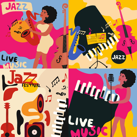 Set of colorful music cards and banners. Music cards with instruments flat vector illustration. Jazz music festival banners. Colorful jazz concert posters Vectores