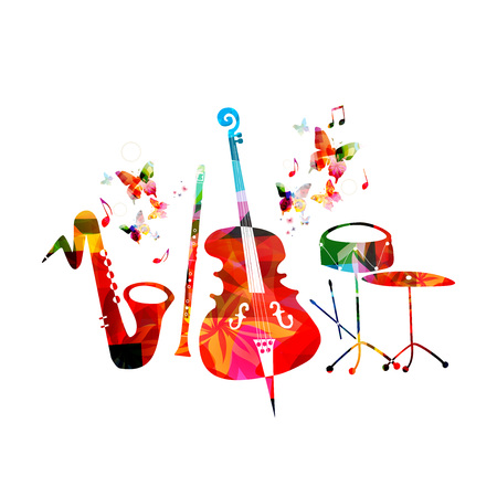 Music colorful background with saxophone, clarinet, violoncello and drum. Music festival poster. Music instruments isolated vector illustration