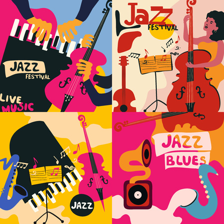 Set of music cards and banners. Music cards with instruments flat vector illustration. Jazz music festival banners. Colorful jazz concert posters Imagens - 99436247