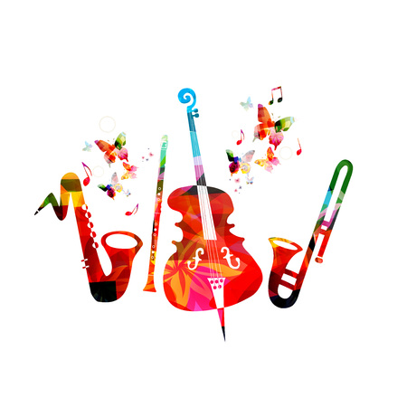 Music colorful background with saxophone, clarinet, violoncello and trumpet. Music festival poster. Music instruments isolated vector illustration