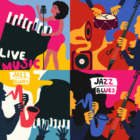 Set of music cards and banners. Music cards with instruments flat vector illustration. Jazz music festival banners. Colorful jazz concert posters Illustration