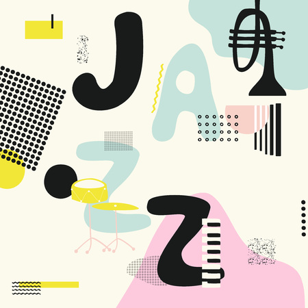 Jazz music typographic colorful background with trumpet, drum and piano keys vector illustration. Geometric music festival poster, creative jazz banner design. Word jazz
