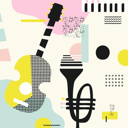 Muziek kleurrijke achtergrond met gitaar, trompet en piano toetsen geïsoleerde vectorillustratie. Geometrische muziekfestivalaffiche, creatief ontwerp van muziekinstrumenten