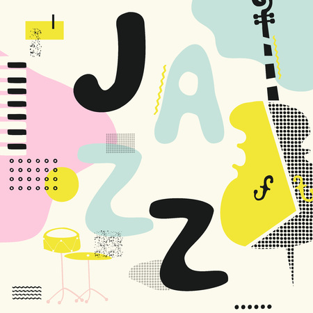 Jazz music typographic colorful background with violoncello, drum and piano keys vector illustration. Geometric music festival poster, creative jazz banner design. Word jazz