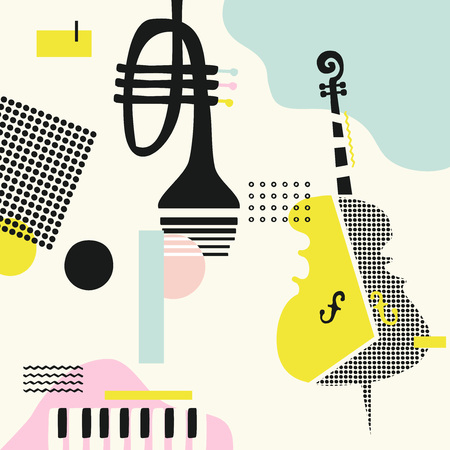 Music colorful background with violoncello, trumpet and piano isolated vector illustration. Geometric music festival poster, creative music instruments design Ilustração