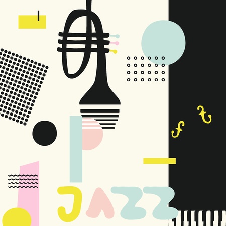 Music colorful background with trumpet isolated vector illustration. Geometric music festival poster, creative trumpet design with word jazz Imagens - 100314626