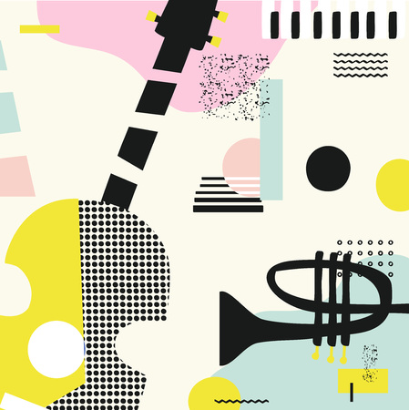 Music colorful background with guitar, trumpet and piano keys isolated vector illustration. Geometric music festival poster, creative music instruments design