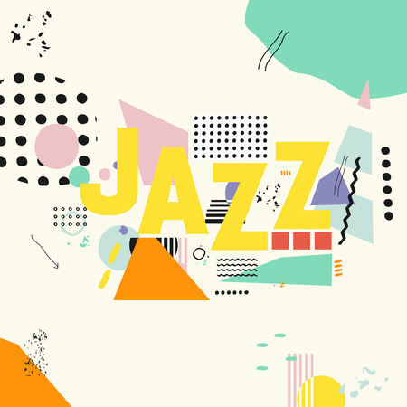 Jazz music typographic colorful background vector illustration. Geometric music festival poster, creative jazz banner design. Word jazz