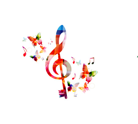 Music colorful background with G-clef and music notes vector illustration design. Music festival poster, creative music notes isolated