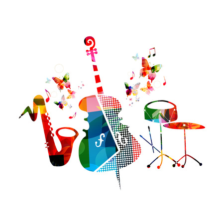 Music colorful background with violoncello, saxophone and percussion cymbals vector illustration design. Music festival poster, creative music instruments with music notes isolated