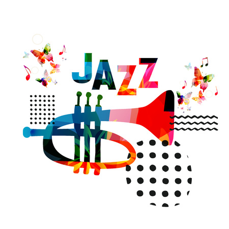 Music colorful background with trumpet vector illustration design. Music festival poster, creative trumpet design with word jazz. Typographic banner  イラスト・ベクター素材