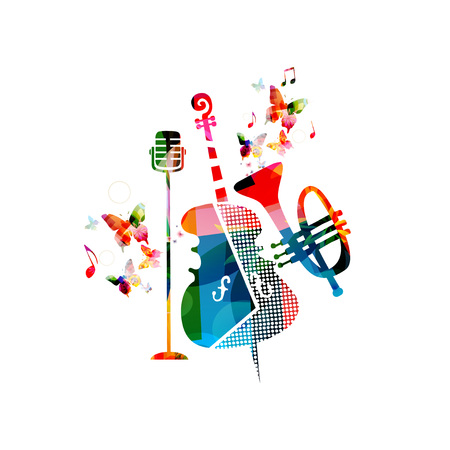 Music colorful background with violoncello, trumpet and microphone vector illustration design. Music festival poster, creative music instruments with music notes isolated Illustration