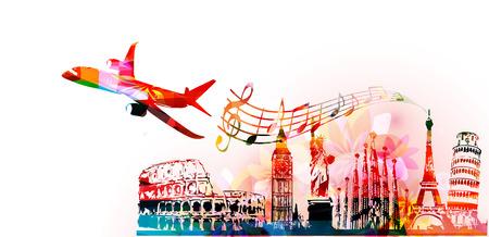 Skyline del mondo, famosi punti di riferimento del mondo illustrazione vettoriale design. Sfondo di viaggi e turismo. Punti di riferimento turistici colorati. In giro per i monumenti di fama mondiale Vettoriali