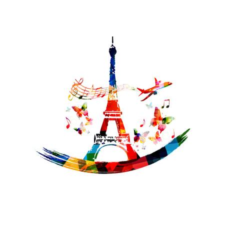 Colorful Eiffel Tower vector illustration design. Famous landmark in Paris. Travel and tourism background Archivio Fotografico - 101790789