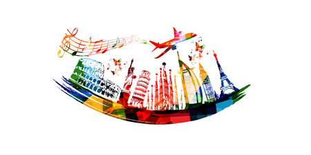 World skyline, famous world landmarks vector illustration design. Travel and tourism background. Colorful turistic landmarks. Around the world famous monuments