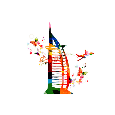 Colorful   Dubai vector illustration design. Famous Dubai hotel. Travel and tourism background