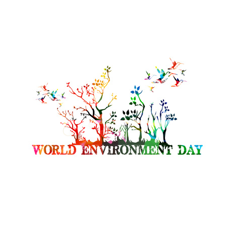 World Environment Day poster vector illustration. Typographic colorful background. Eco web banner