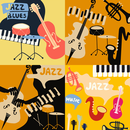 Set of music cards and banners. Music cards with instruments flat vector illustration. Jazz music festival banners. Colorful jazz concert posters Imagens - 102644700