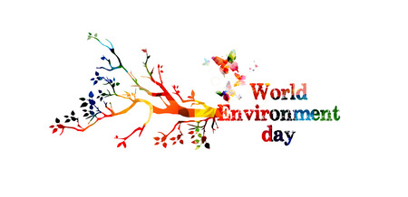 World Environment Day poster vector illustration. Typographic colorful background. Eco web banner Stockfoto - 102554207