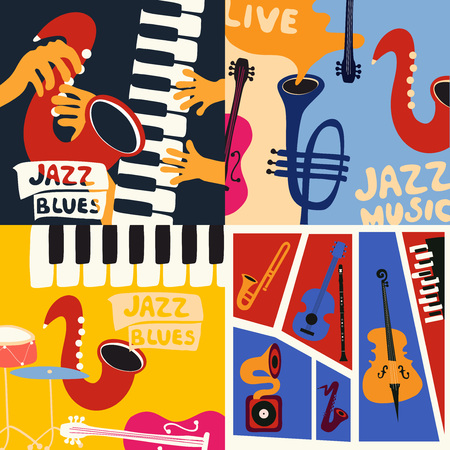 Set of music cards and banners. Music cards with instruments flat vector illustration. Jazz music festival banners. Colorful jazz concert posters Imagens - 102582105