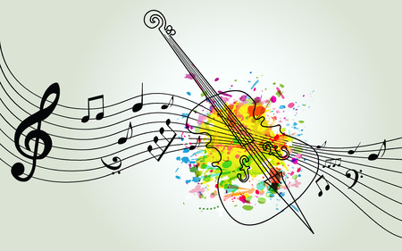 Music colorful background with music notes and violoncello vector illustration design. Music festival poster, creative cello design with music staff Stock Illustratie