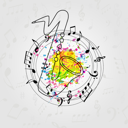 Music colorful background with music notes and saxophone vector illustration design. Music festival poster, creative sax design with music staff
