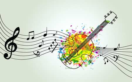 Music colorful background with music notes and guitar vector illustration design. Music festival poster, creative guitar design with music staff