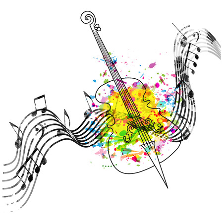 Music colorful background with music notes and violoncello vector illustration design. Music festival poster, creative cello design with music staff Ilustração