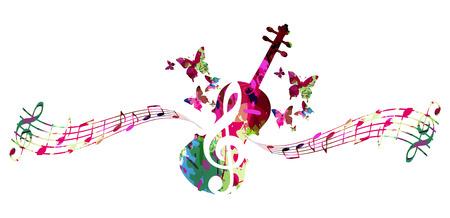 Fondo colorido de música con notas musicales y diseño de ilustración de vector de violonchelo. Cartel del festival de música, diseño creativo de violonchelo.