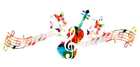 Music colorful background with music notes and violoncello vector illustration design. Music festival poster, creative cello design Archivio Fotografico - 103294368