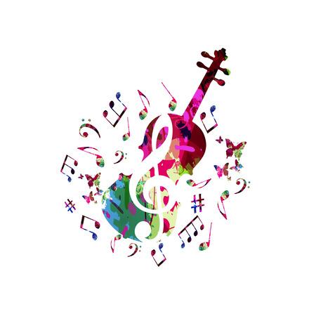 Musica di sottofondo colorato con note musicali e disegno di illustrazione vettoriale violoncello. Manifesto del festival musicale, design creativo del violoncello