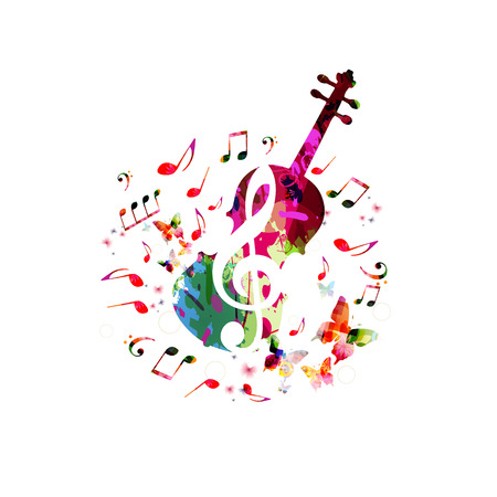 Music colorful background with music notes and violoncello vector illustration design. Music festival poster, creative cello design