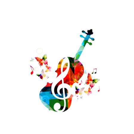 Music colorful background with music notes and violoncello vector illustration design. Music festival poster, creative cello design Archivio Fotografico - 103294366