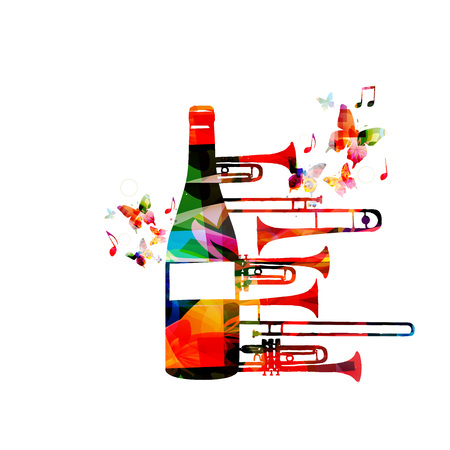 Colorful bottle with trumpet and music notes isolated vector illustration. Background for restaurant poster, restaurant menu, music events, live music and festivals Illustration